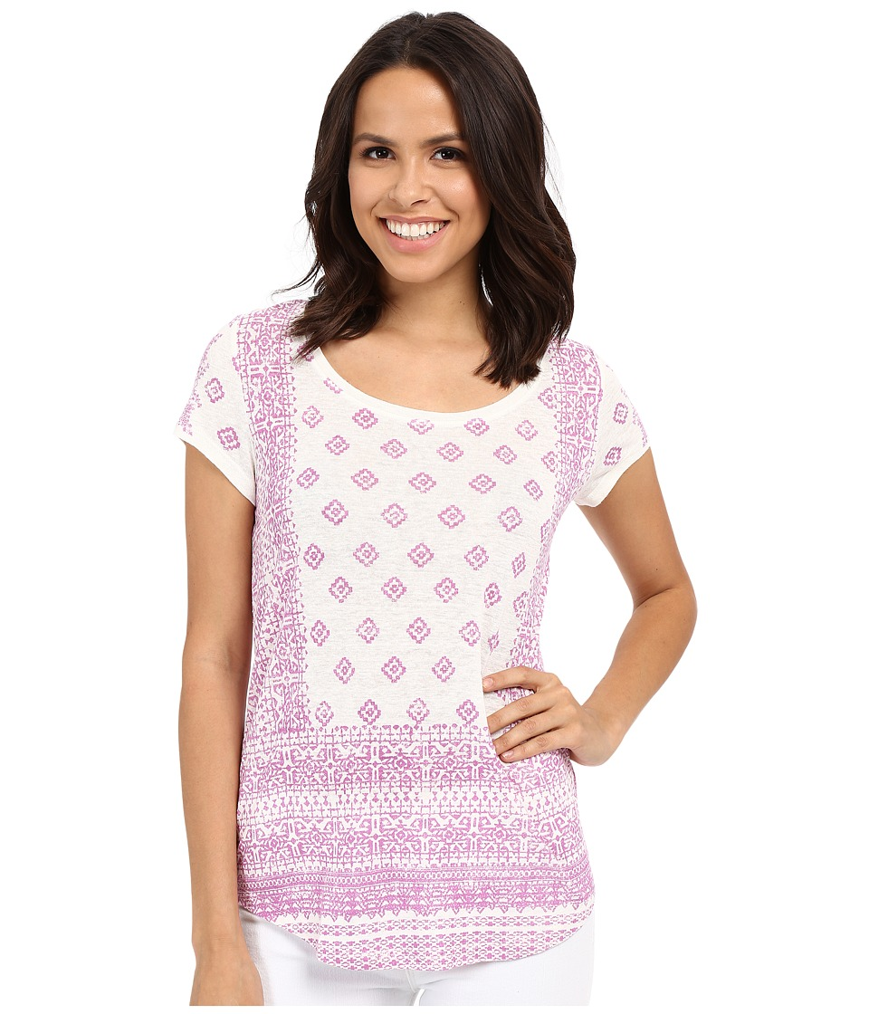 Lucky Brand - Aztec Print Tee (Pink Multi) Women's Short Sleeve Pullover