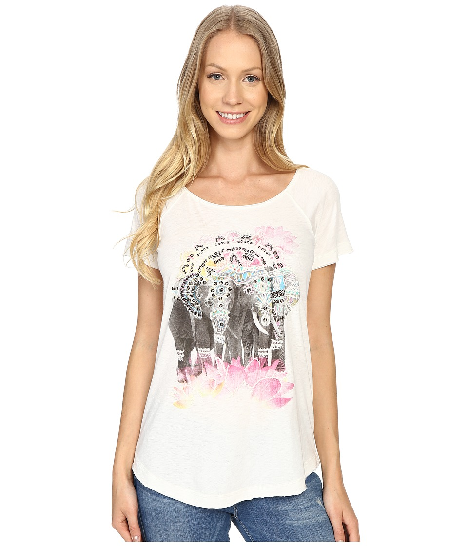 Lucky Brand - Elephant Drawing Tee (Cloud Dancer) Women's T Shirt