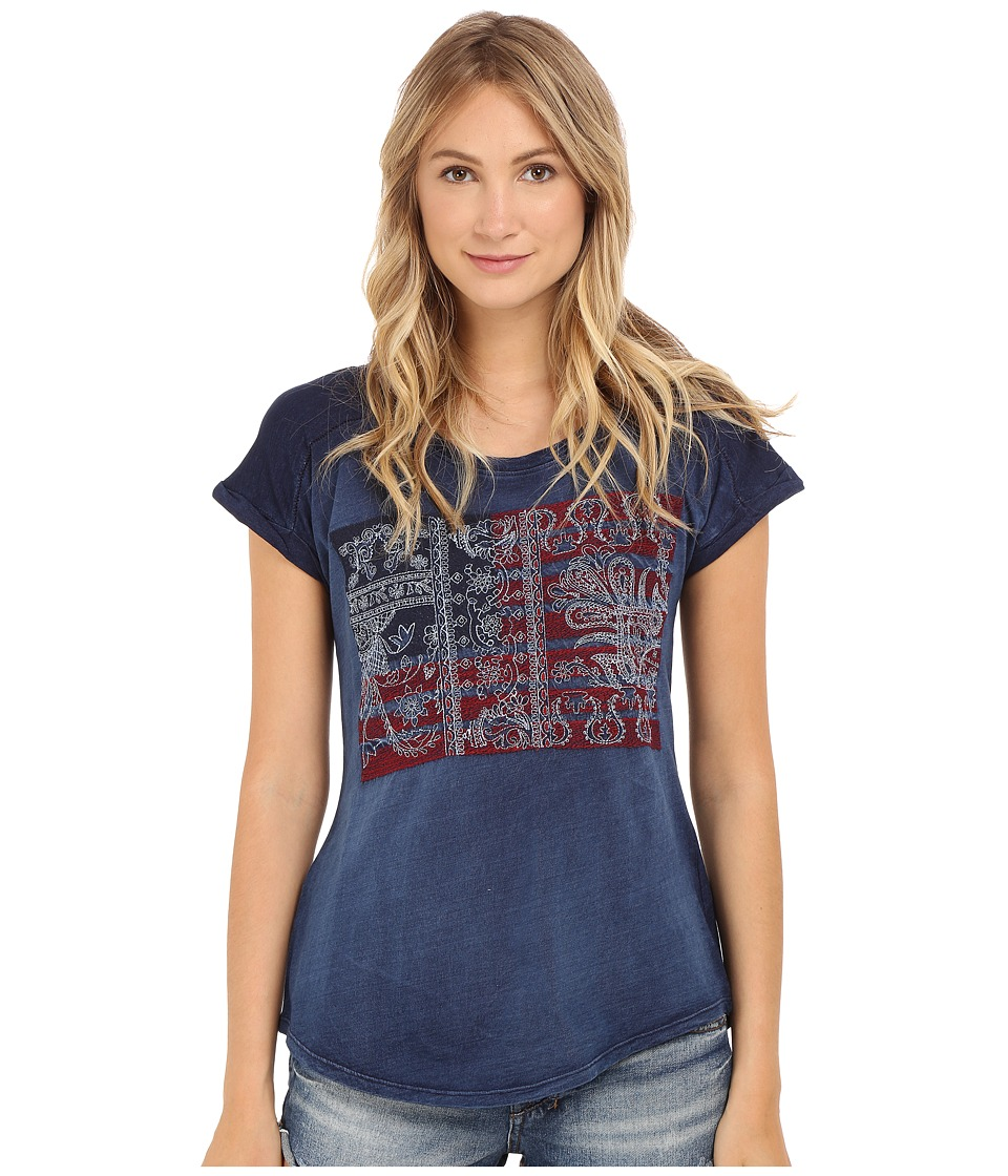 Lucky Brand - Embroidered Flag Tee (Indigo) Women's T Shirt