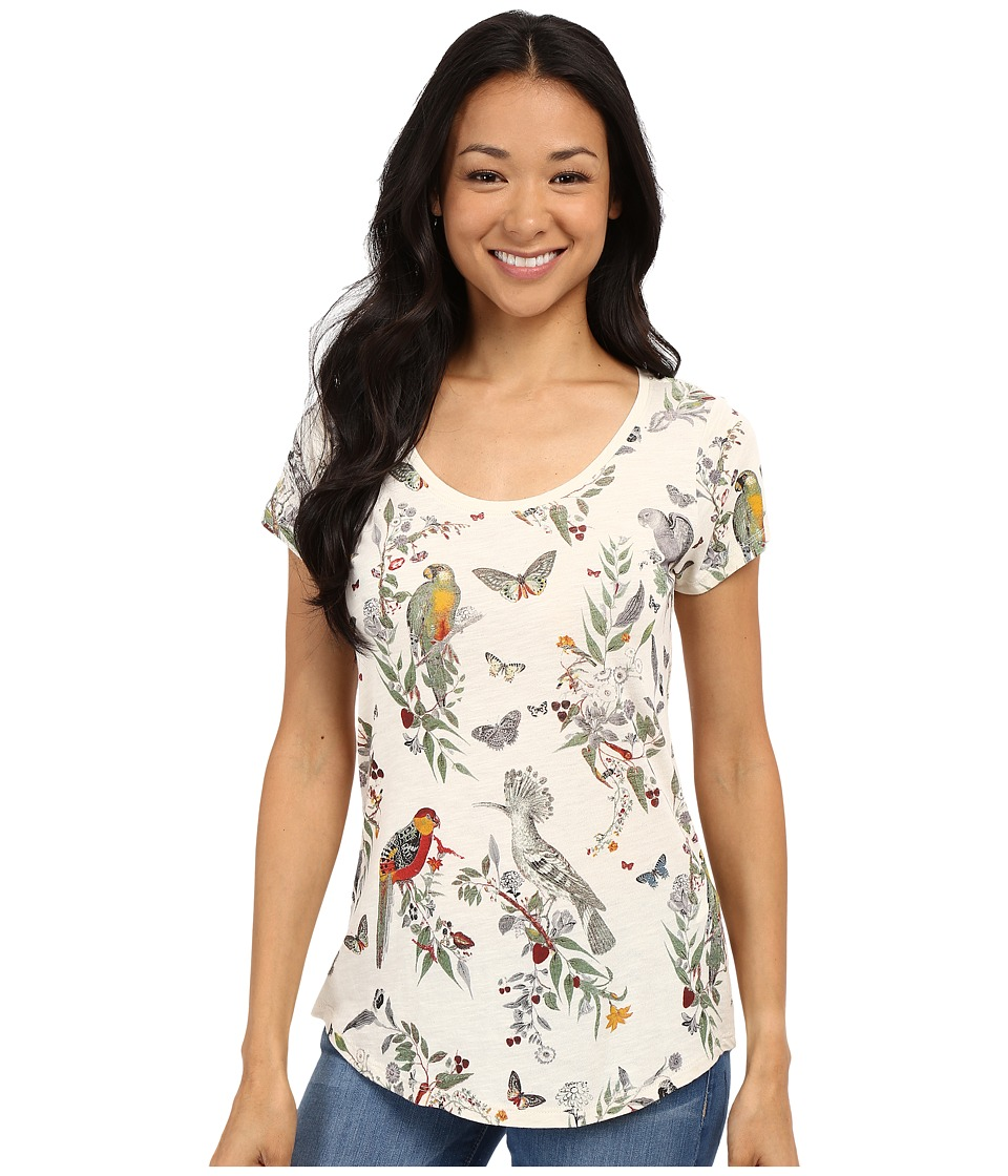Lucky Brand - Crazy Parrot Tee (Birch) Women's Short Sleeve Pullover