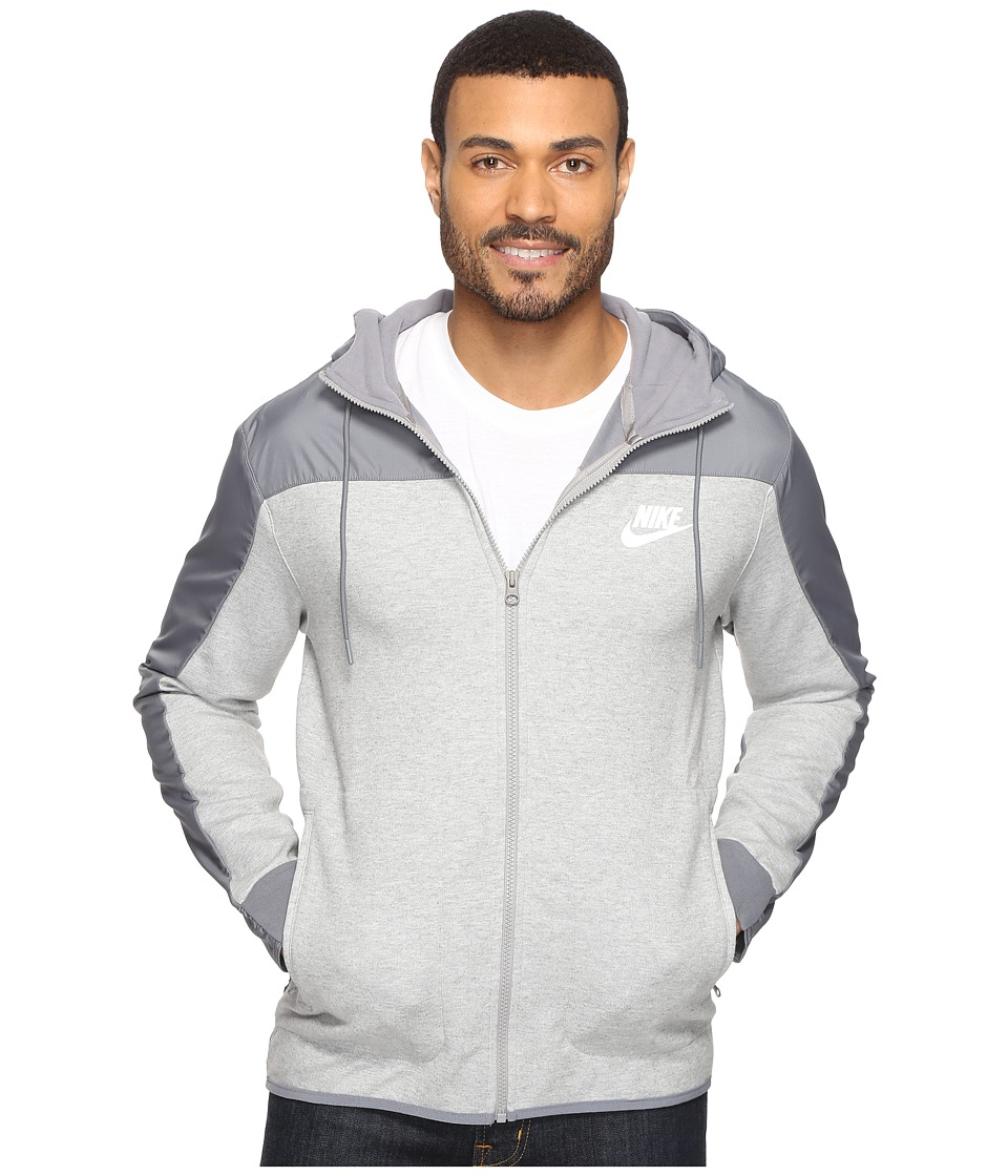 Nike - NSW AV15 Hoodie Full Zip SSNL (Dark Grey Heather/Cool Grey/White) Men's Sweatshirt