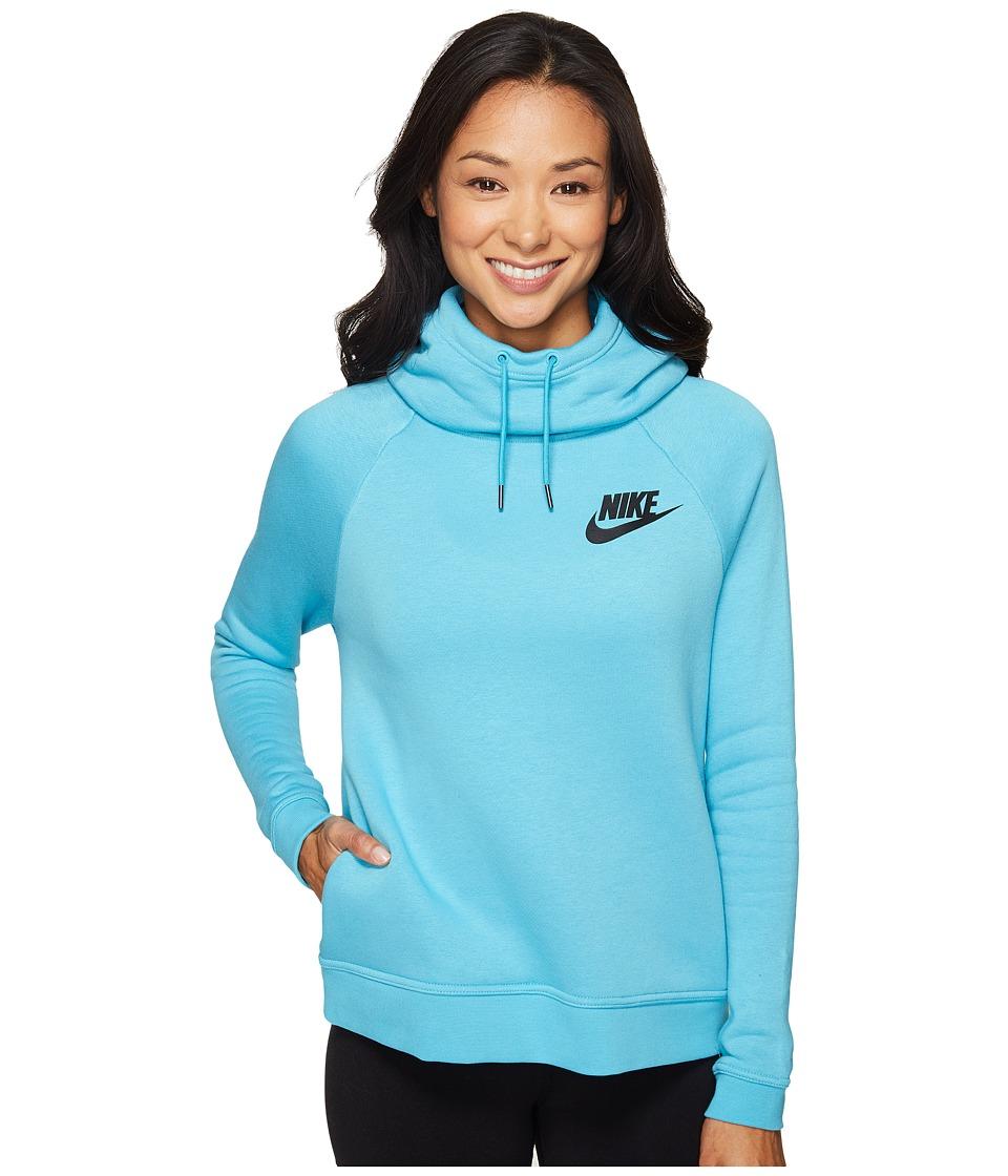 Nike - Rally Pullover Hoodie (Omega Blue/Omega Blue/Black) Women's Sweatshirt