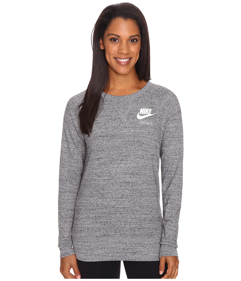 Nike - Gym Vintage Crew Top (Carbon Heather/Sail) Women's Long Sleeve Pullover