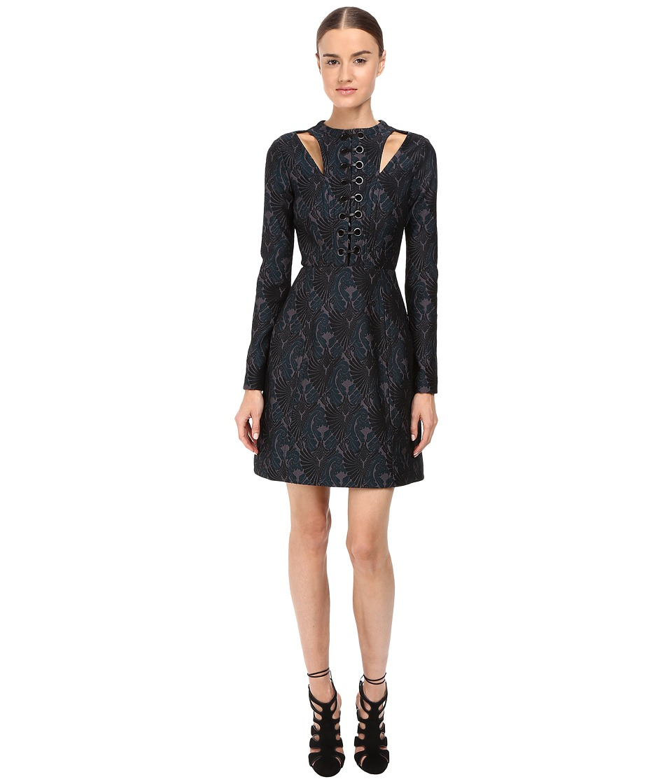 YIGAL AZROUEL Knit Jacquard Dress with Leather and Grommet Lacing (Pine Multi) Women