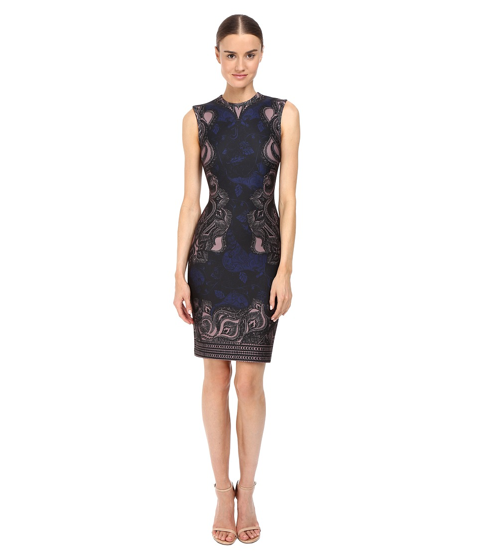 YIGAL AZROUEL Abstract Ganesha Print Scuba Dress (Black) Women