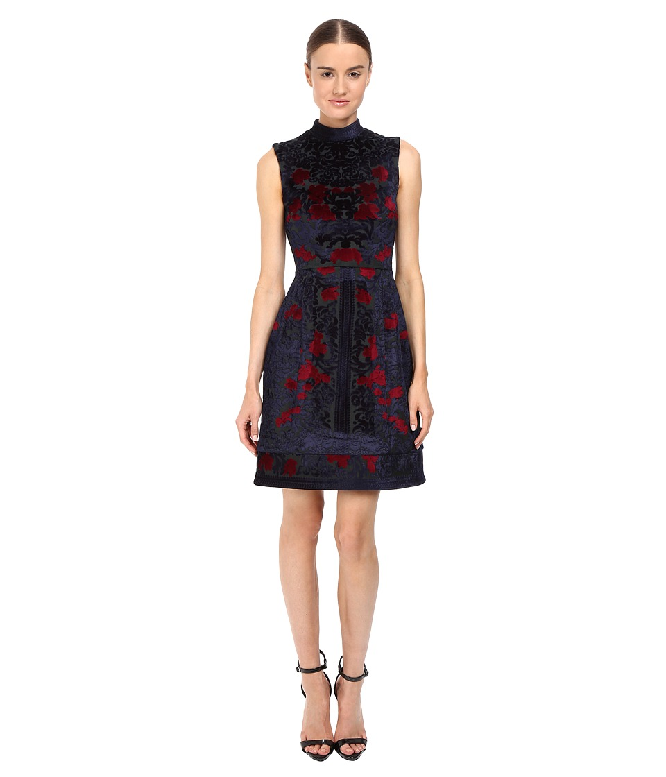 YIGAL AZROU L - Engineered Velvet Damask Burnout Dress (Midnight Multi) Women's Dress