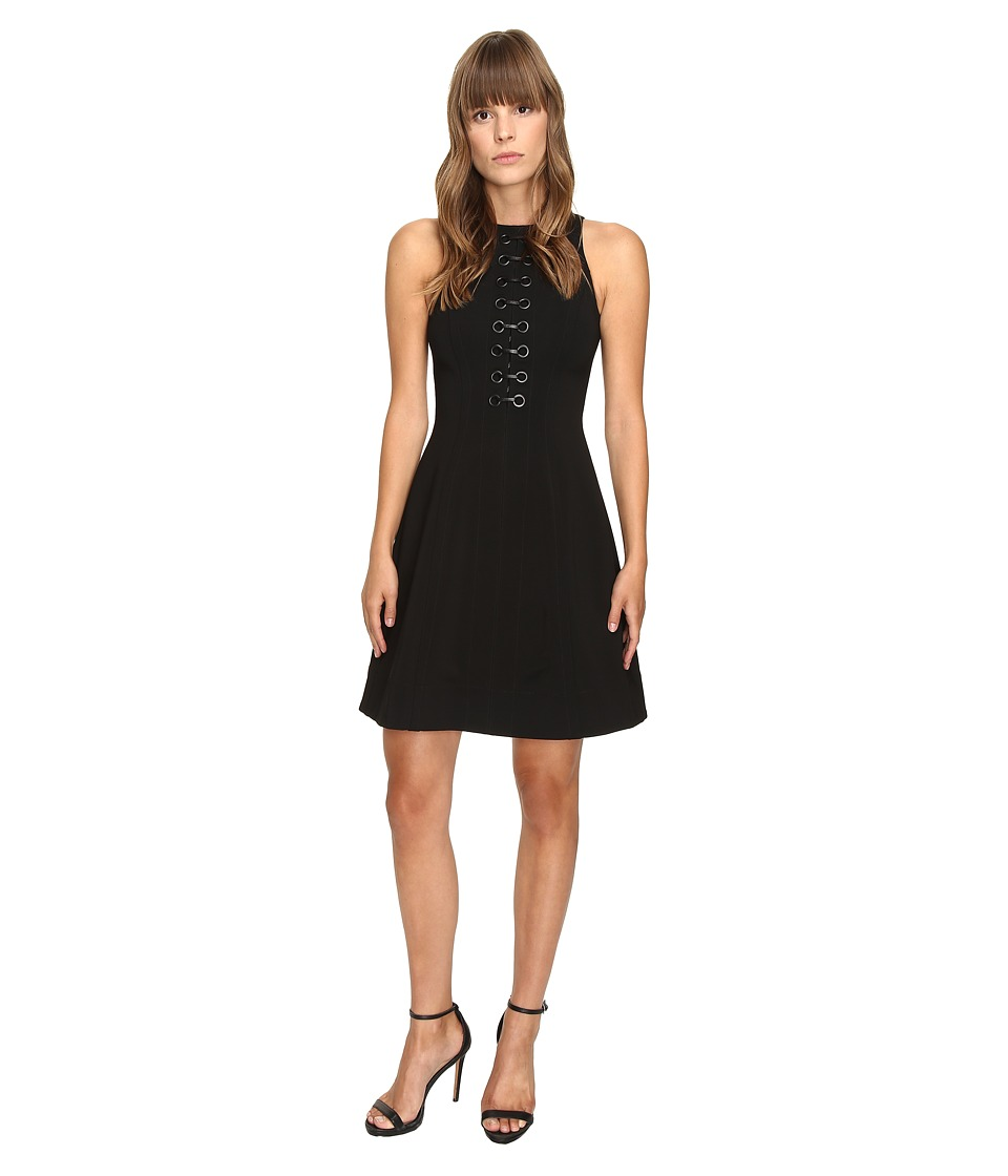 YIGAL AZROU L - Mechanical Stretch Eyelet Front Dress (Black) Women's Dress