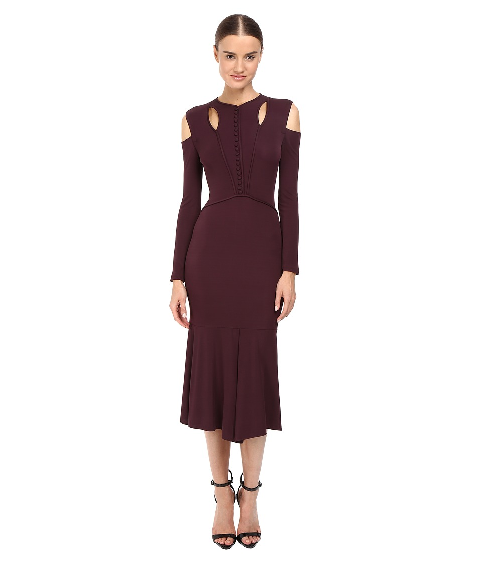 YIGAL AZROU L - Stella Cold Shoulder Matte Jersey Dress (Bordeaux Multi) Women's Dress