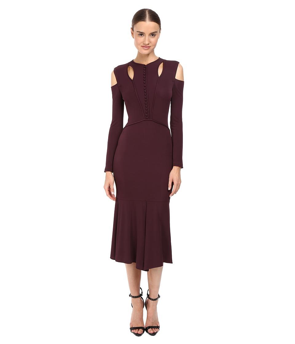 YIGAL AZROUEL Stella Cold Shoulder Matte Jersey Dress (Bordeaux Multi) Women
