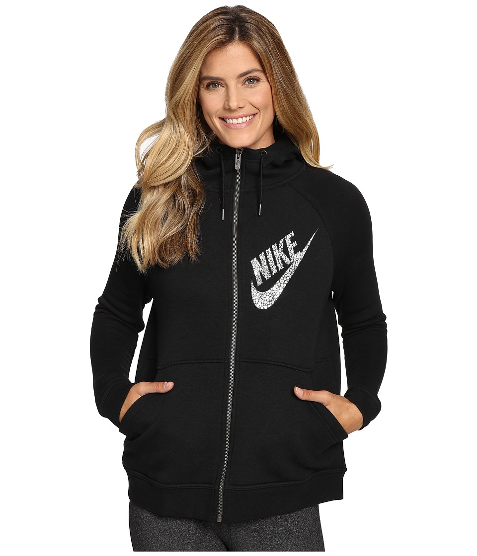 Nike Rally Full-Zip Graphic Hoodie (Black/Anthracite/Metallic Silver) Women