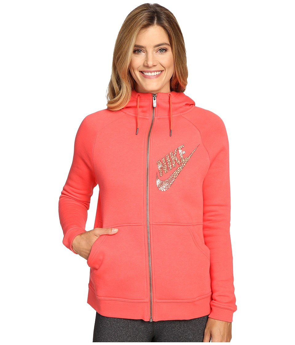 Nike - Rally Full-Zip Graphic Hoodie (Ember Glow/Gym Red/Metallic Red Bronze) Women's Sweatshirt