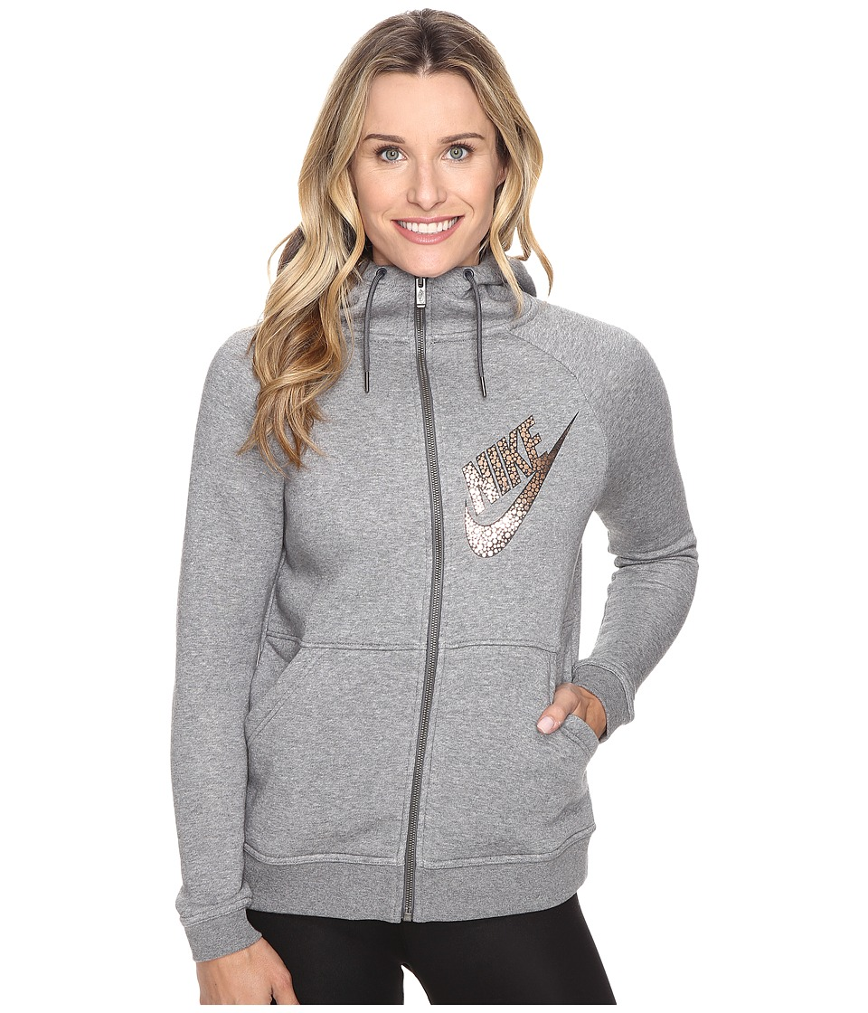 Nike - Rally Full-Zip Graphic Hoodie (Carbon Heather/Dark Grey/Metallic Red Bronze) Women's Sweatshirt