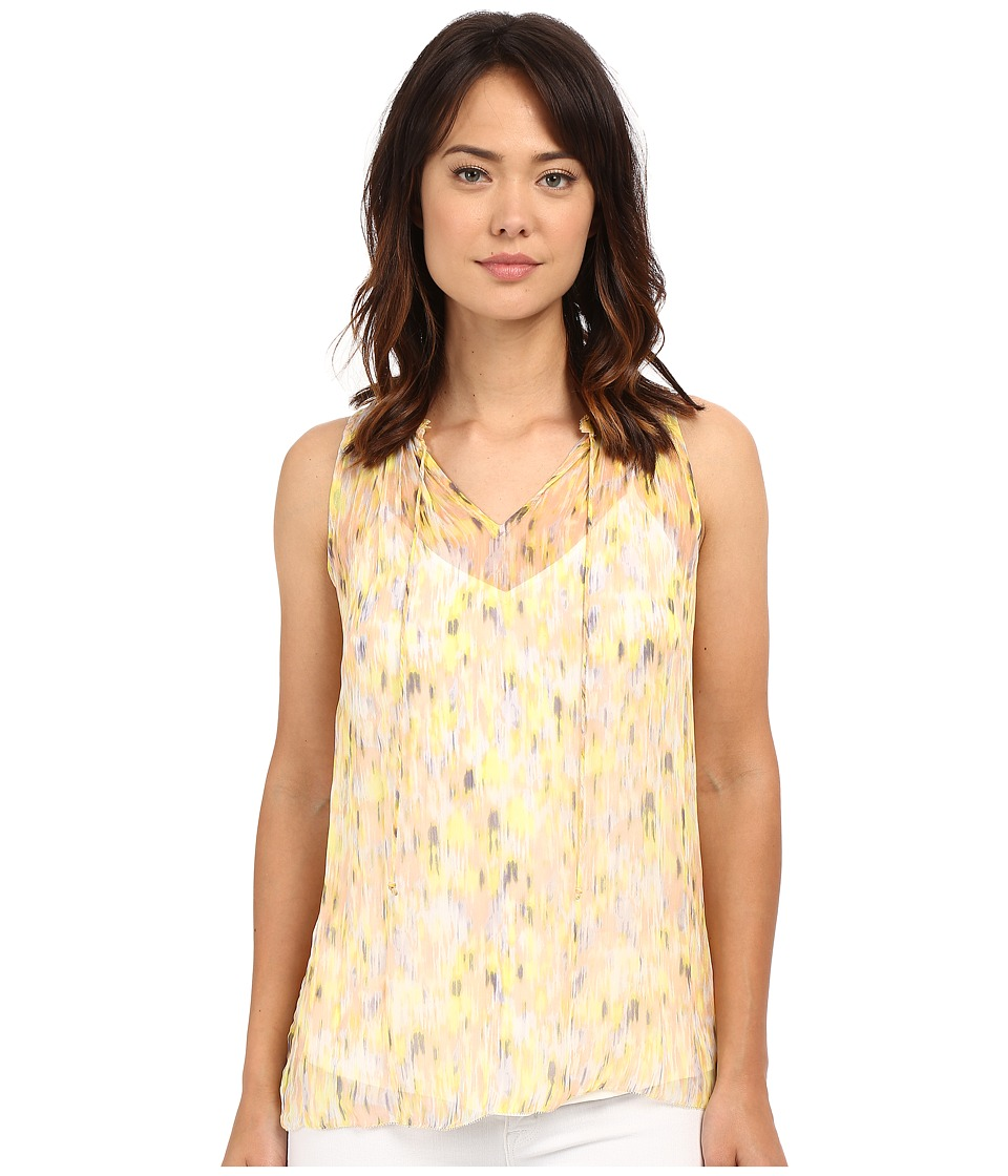 Lucky Brand - Feminine Pleated Tank Top (Yellow Multi) Women's Sleeveless