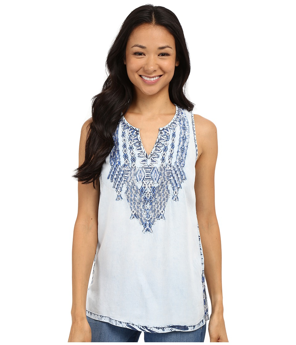 Lucky Brand - Tencel Embroidered Tank Top (Blue Multi) Women's Sleeveless