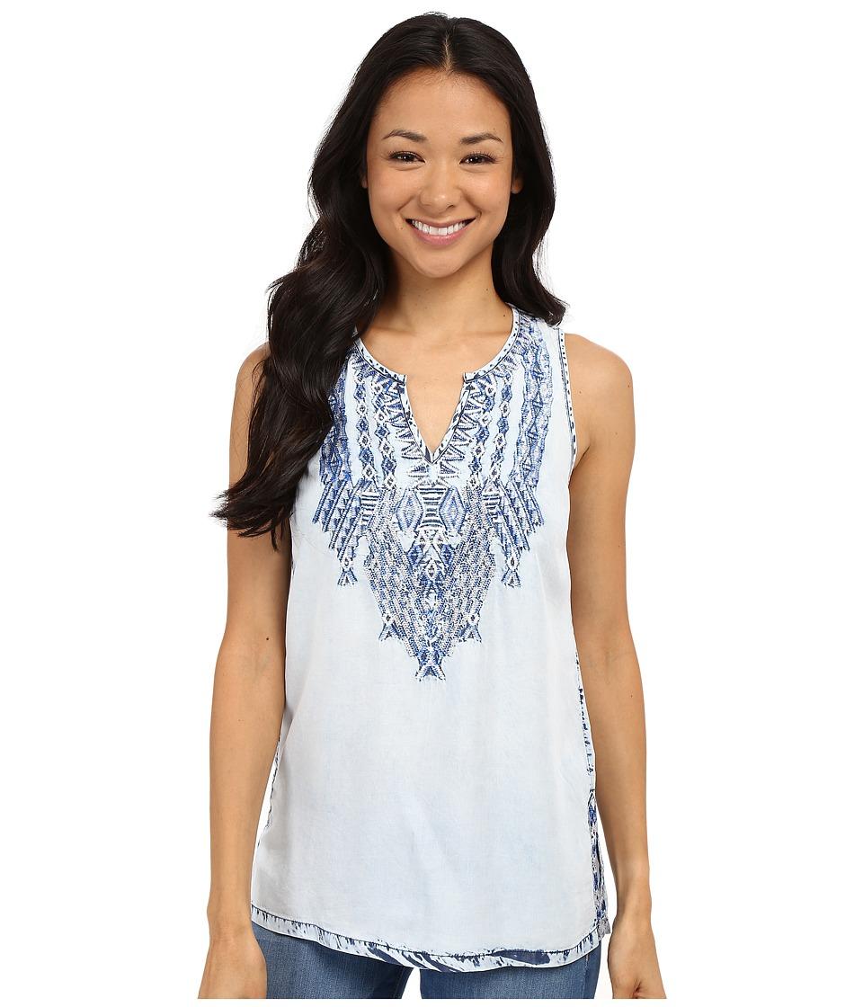 Lucky Brand - Tencel Embroidered Tank Top (Blue Multi) Women's Sleeveless