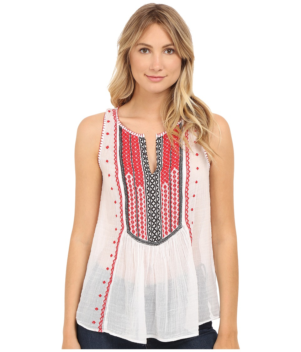 Lucky Brand - Embroidered Bib Tank Top (Red Multi) Women's Sleeveless