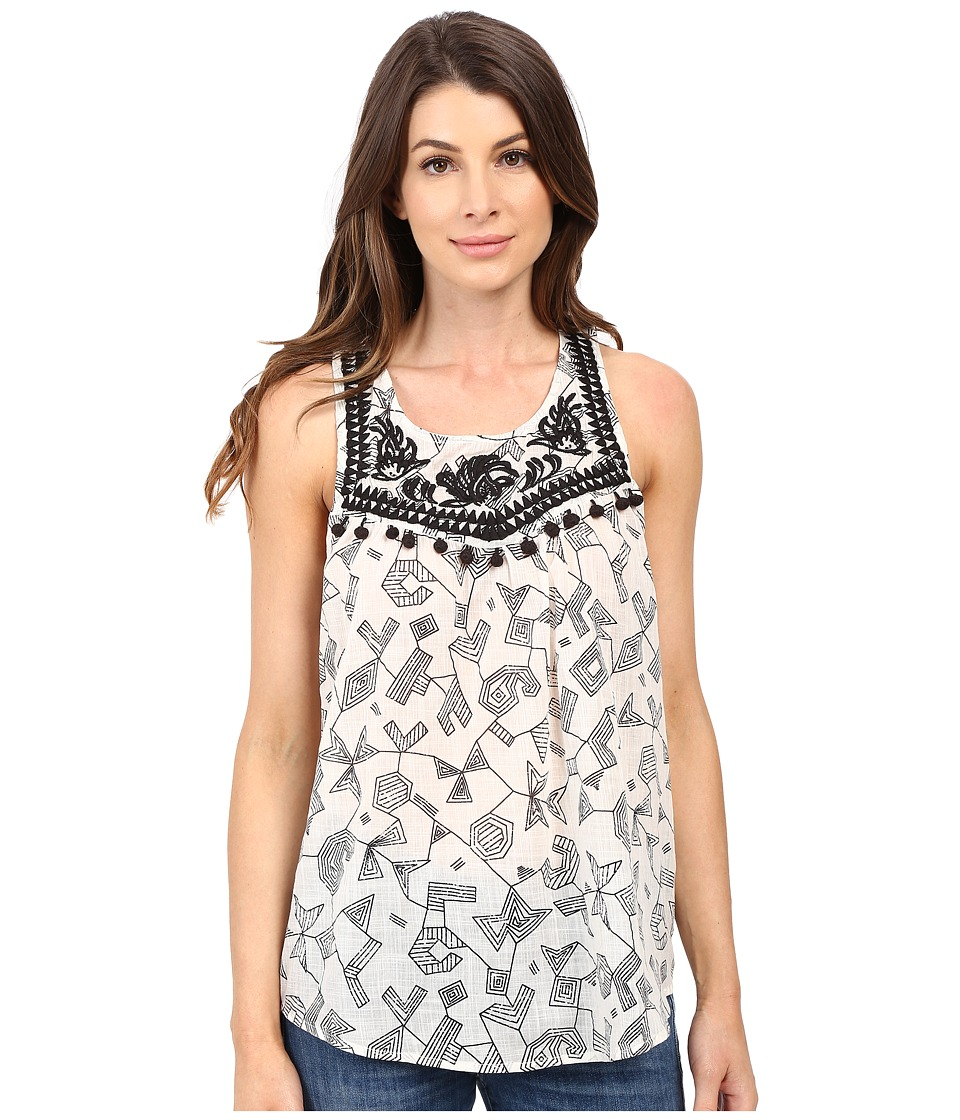Lucky Brand - Printed Pom Pom Tank Top (Black Multi) Women's Sleeveless