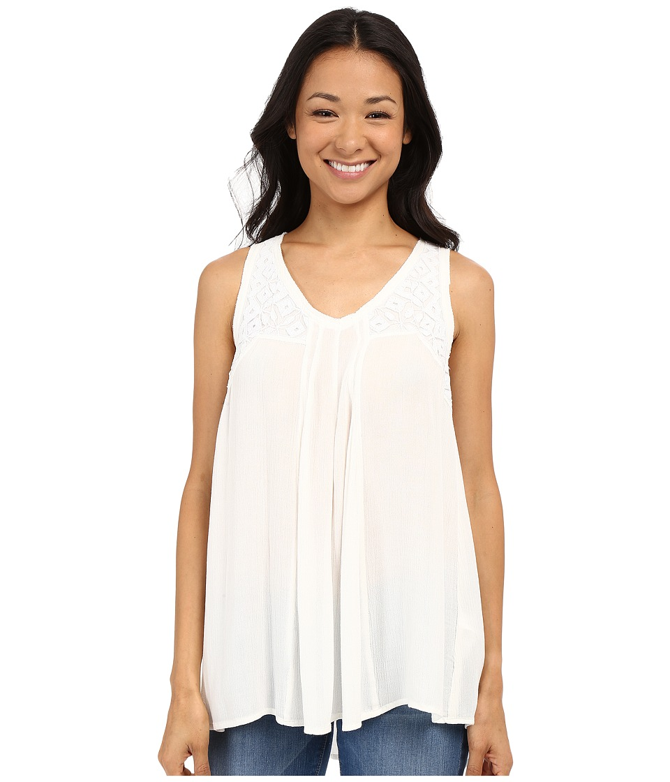 Lucky Brand - Crinkle Embroidered Tank Top (Egret) Women's Sleeveless