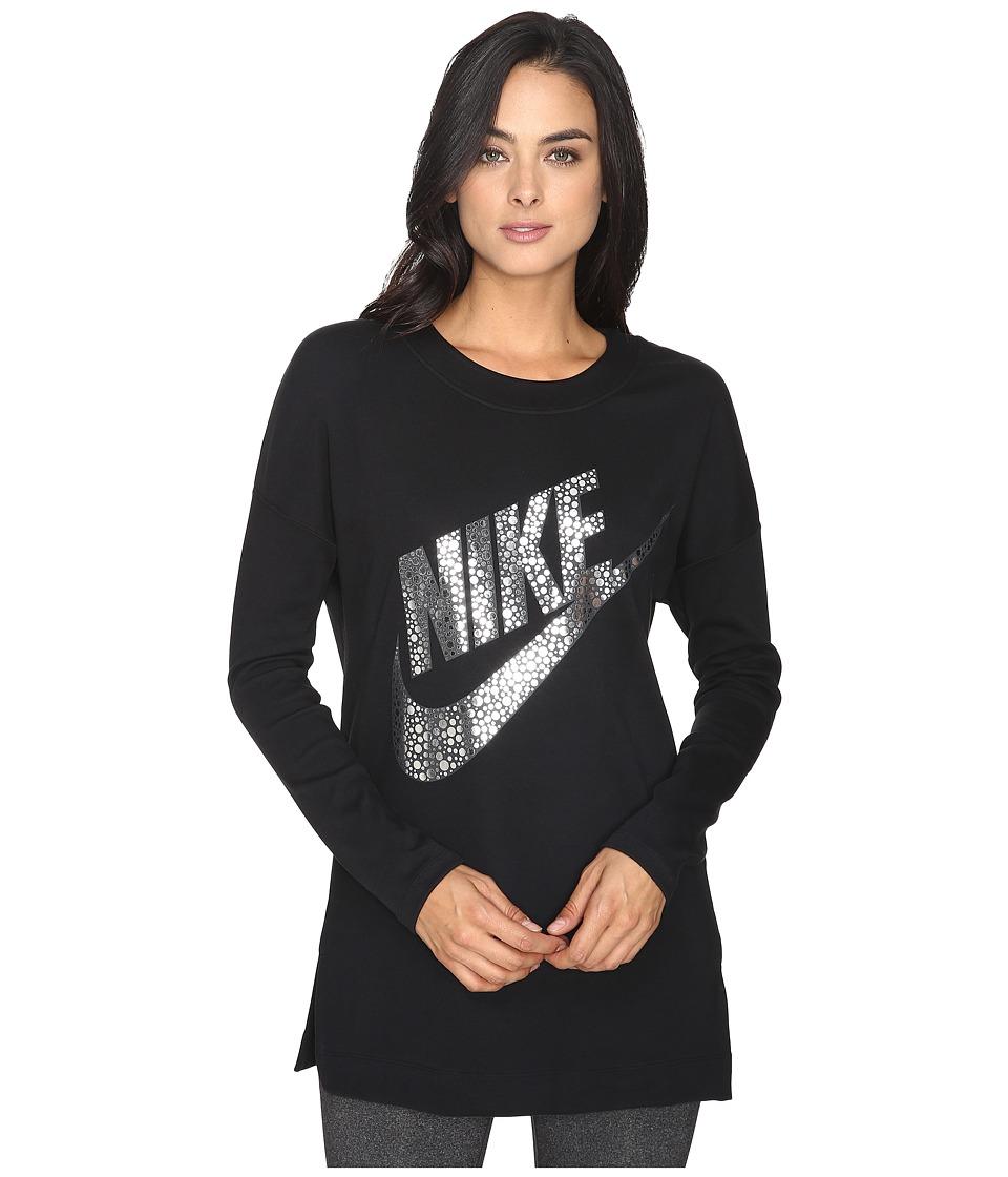 Nike - Sportswear Long Sleeve Graphic Top (Black/Metallic Silver) Women's Clothing