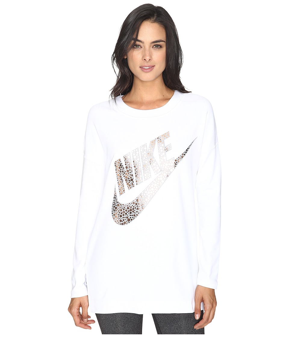 Nike - Sportswear Long Sleeve Graphic Top (White/Metallic Red Bronze) Women's Clothing