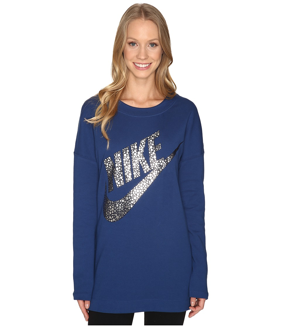 Nike - Sportswear Long Sleeve Graphic Top (Coastal Blue/Metallic Silver) Women's Clothing