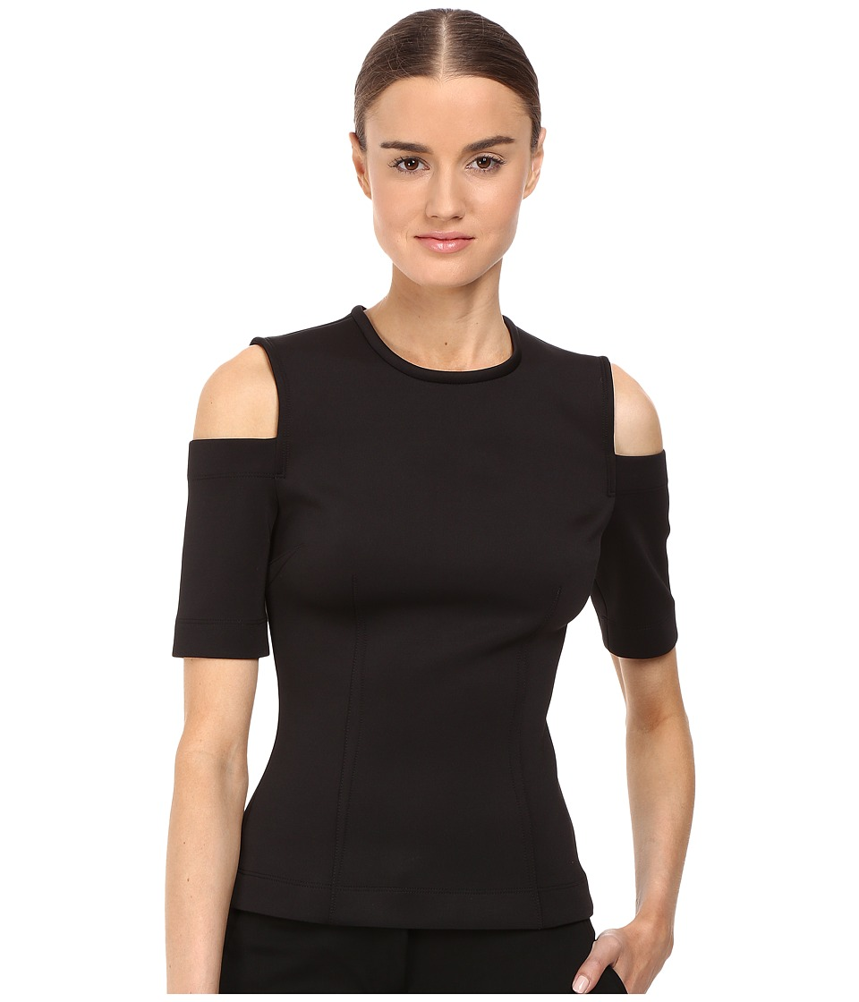 YIGAL AZROUEL Cold Shoulder Scuba Top (Black) Women's Clothing