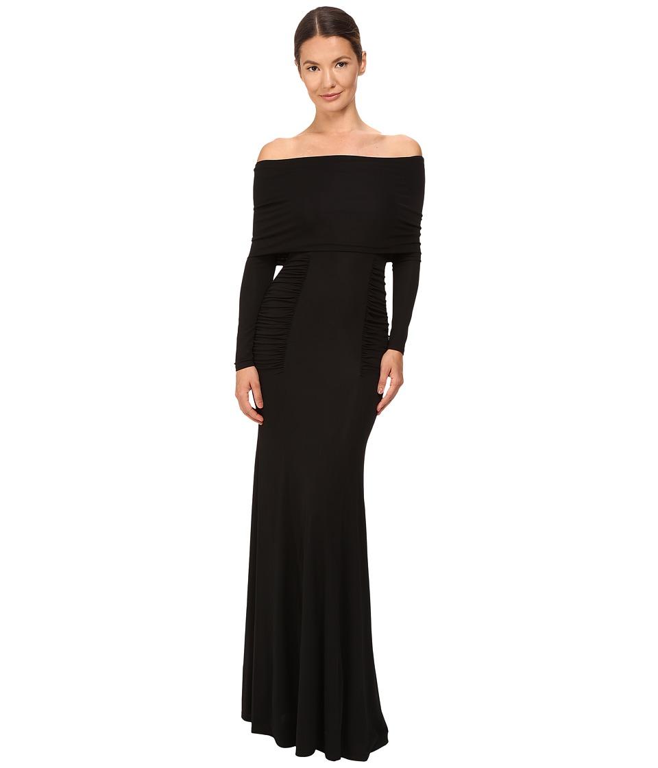 YIGAL AZROU L - Off Shoulder Matte Jersey Gown (Black) Women's Dress