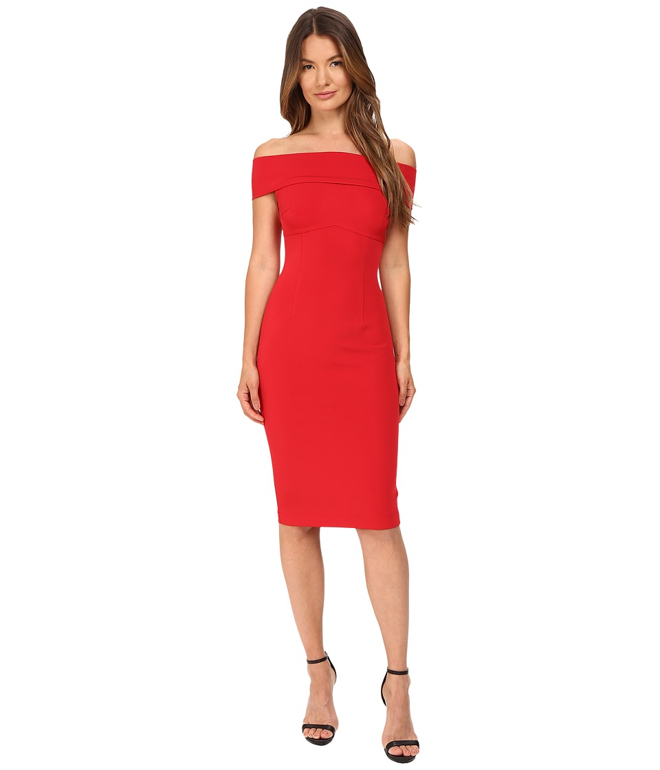YIGAL AZROU L - Off Shoulder Mechanical Stretch Dress (Cardinal Red) Women's Dress