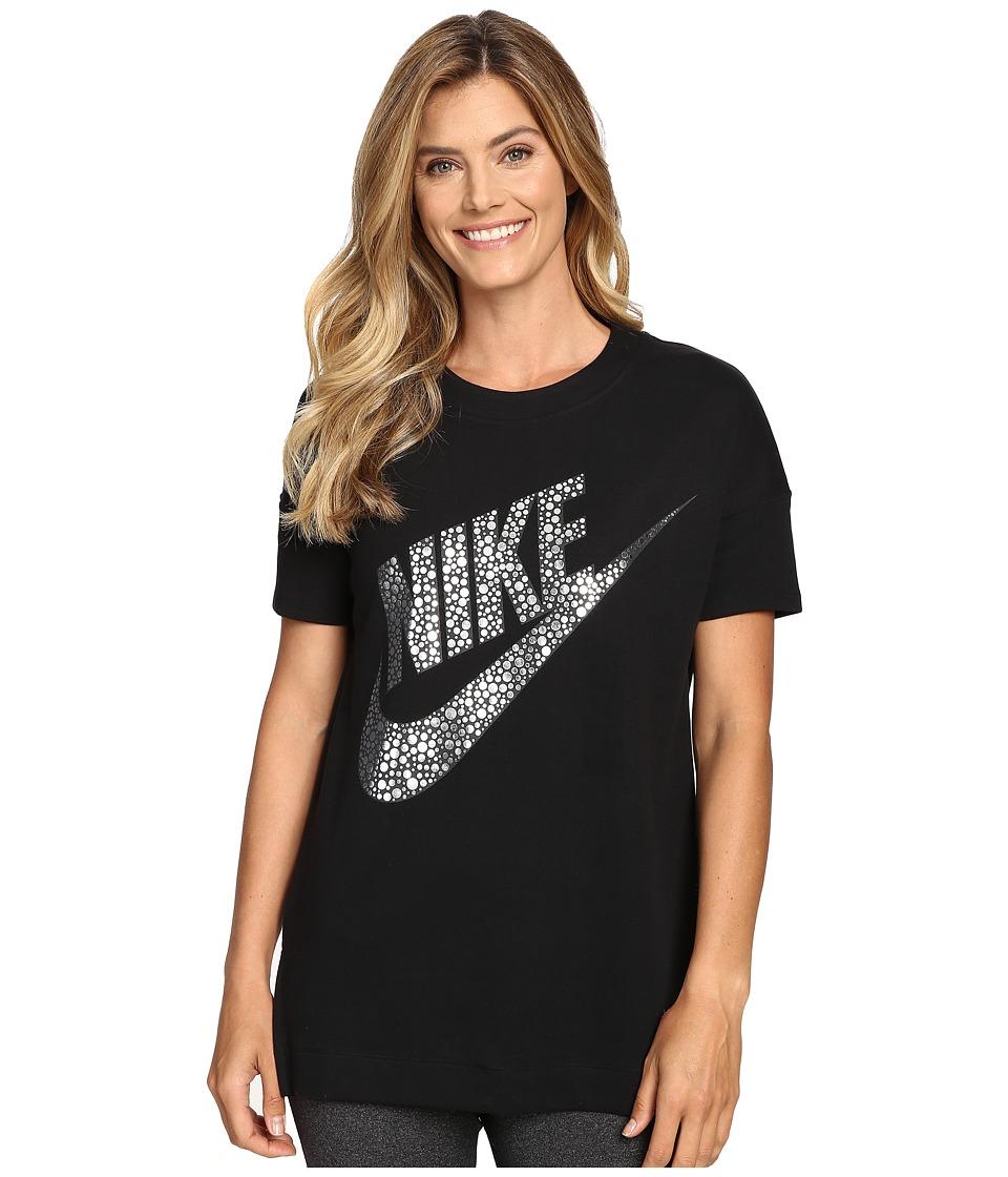 Nike - Sportswear Short Sleeve Top (Black/Metallic Silver) Women's Clothing