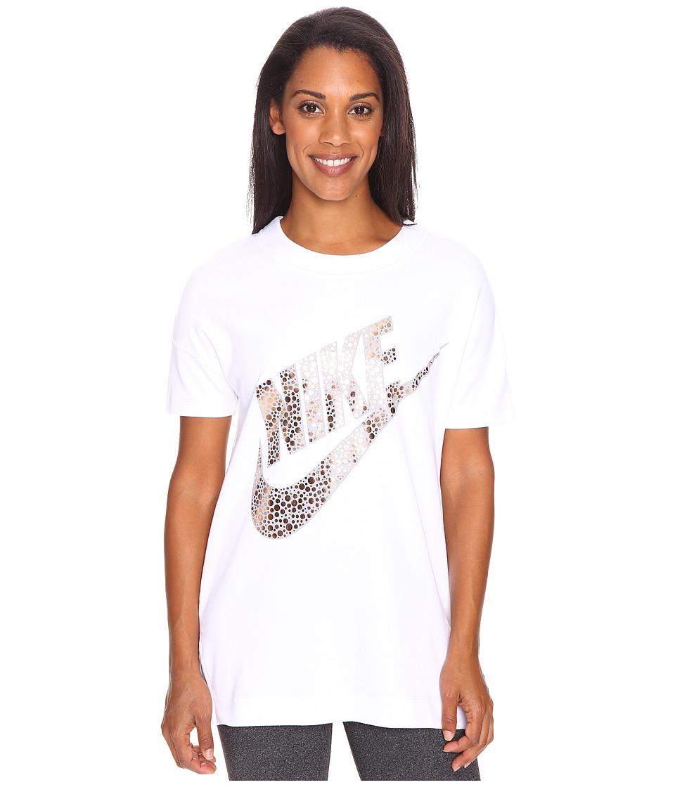 Nike - Sportswear Short Sleeve Top (White/Metallic Red Bronze) Women's Clothing