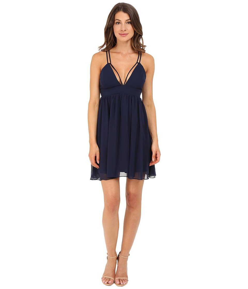 rsvp - Rylo Chiffon Shirred Dress (Navy) Women's Dress