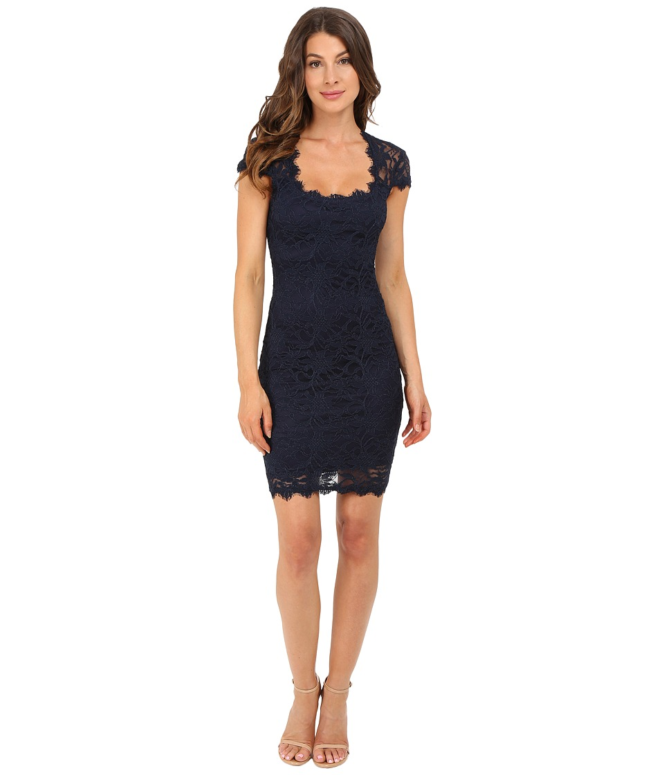 rsvp - Peak Cap Sleeve Short Lace Dress (Navy) Women's Dress