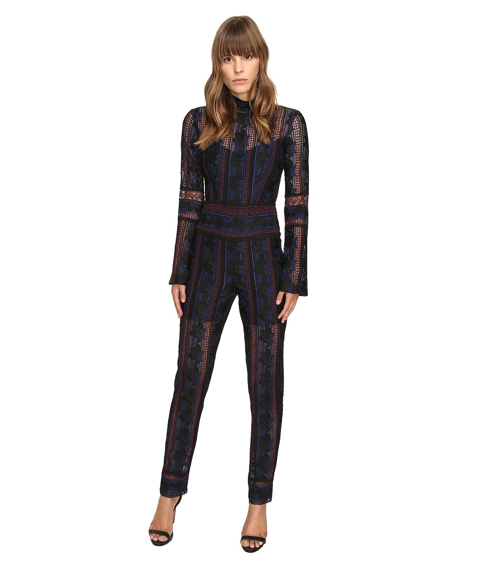 YIGAL AZROUEL - Rose Embroidered Lace Jumpsuit w/ Bell Sleeves (Jet Multi) Women's Jumpsuit & Rompers One Piece