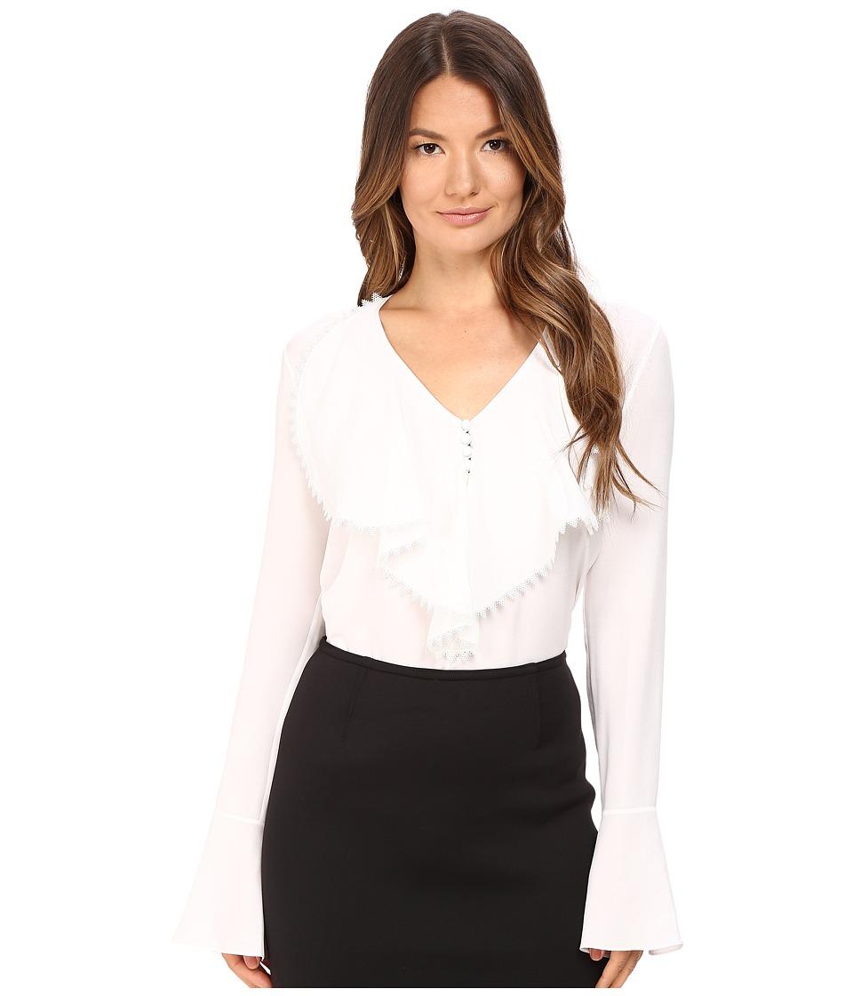 YIGAL AZROU L - Ruffle Front Blouse (White) Women's Blouse