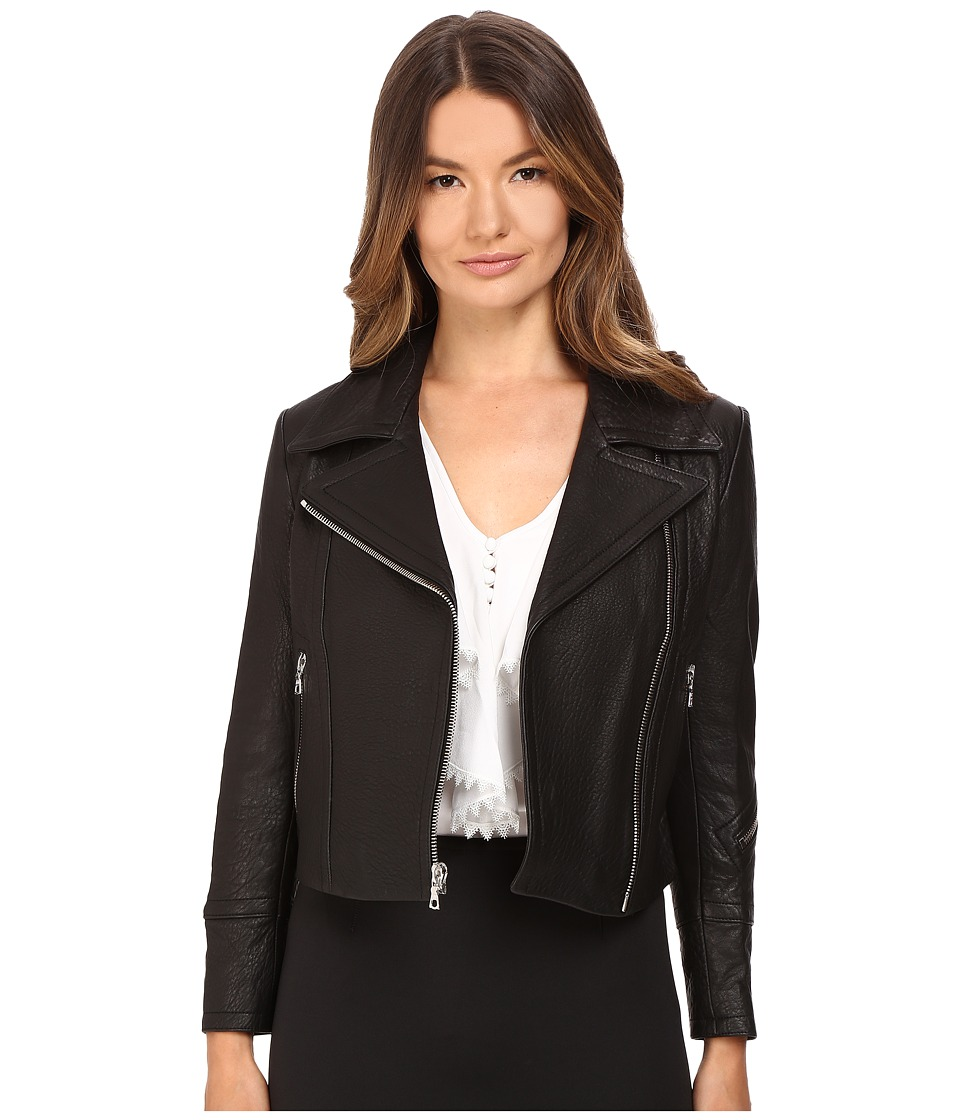 YIGAL AZROU L - Krispy Leather Moto Jacket (Black) Women's Coat