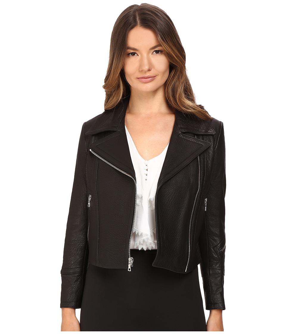 YIGAL AZROU L - Krispy Leather Moto Jacket (Black) Women's Coat