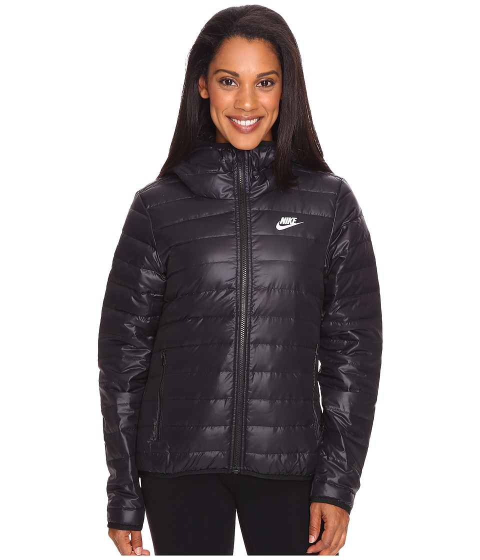Nike - Sportswear Down Fill Hooded Jacket (Black/Black/White) Women's Coat