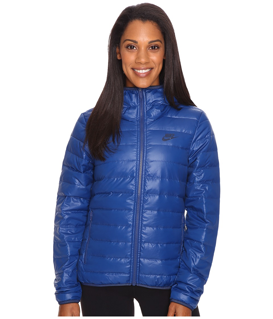 Nike - Sportswear Down Fill Hooded Jacket (Coastal Blue/Coastal Blue/Obsidian) Women's Coat