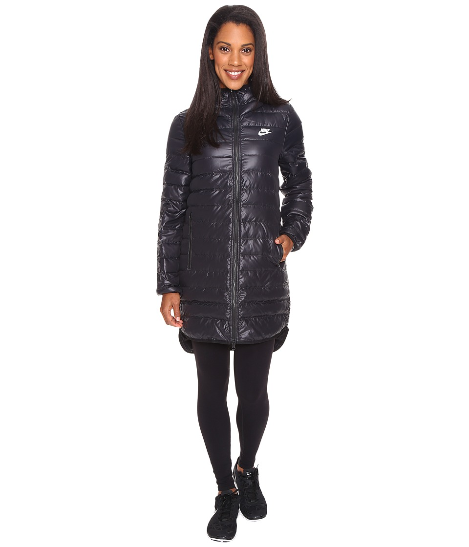 Nike - Sportswear Down Fill Hooded Parka (Black/Black/White) Women's Coat