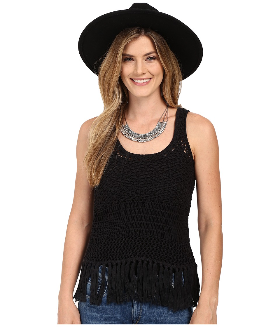 Lucky Brand - Nomad Fringe Tank Top (Lucky Black) Women's Sleeveless