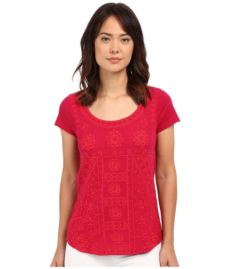 Lucky Brand - Embroidered Shirt (Cerise) Women's Blouse