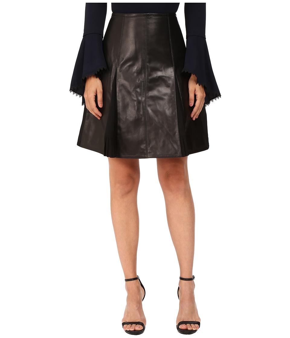 YIGAL AZROU  L - Leather Flair Skirt (Black) Women's Skirt