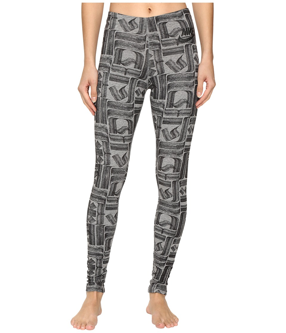 Nike - Sportswear Leg-A-See (Rostarr) Printed Legging (Carbon Heather/Black) Women's Casual Pants