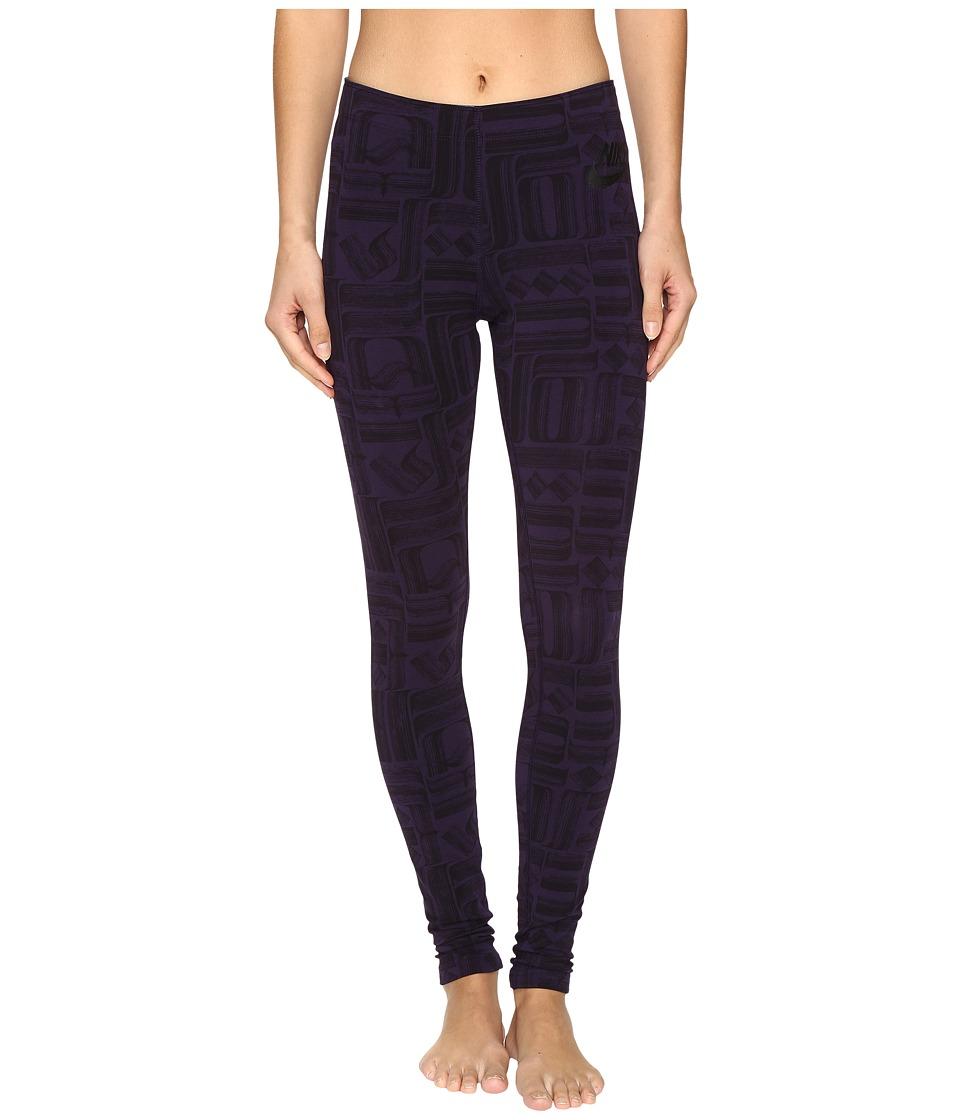 Nike - Sportswear Leg-A-See (Rostarr) Printed Legging (Purple Dynasty/Black) Women's Casual Pants