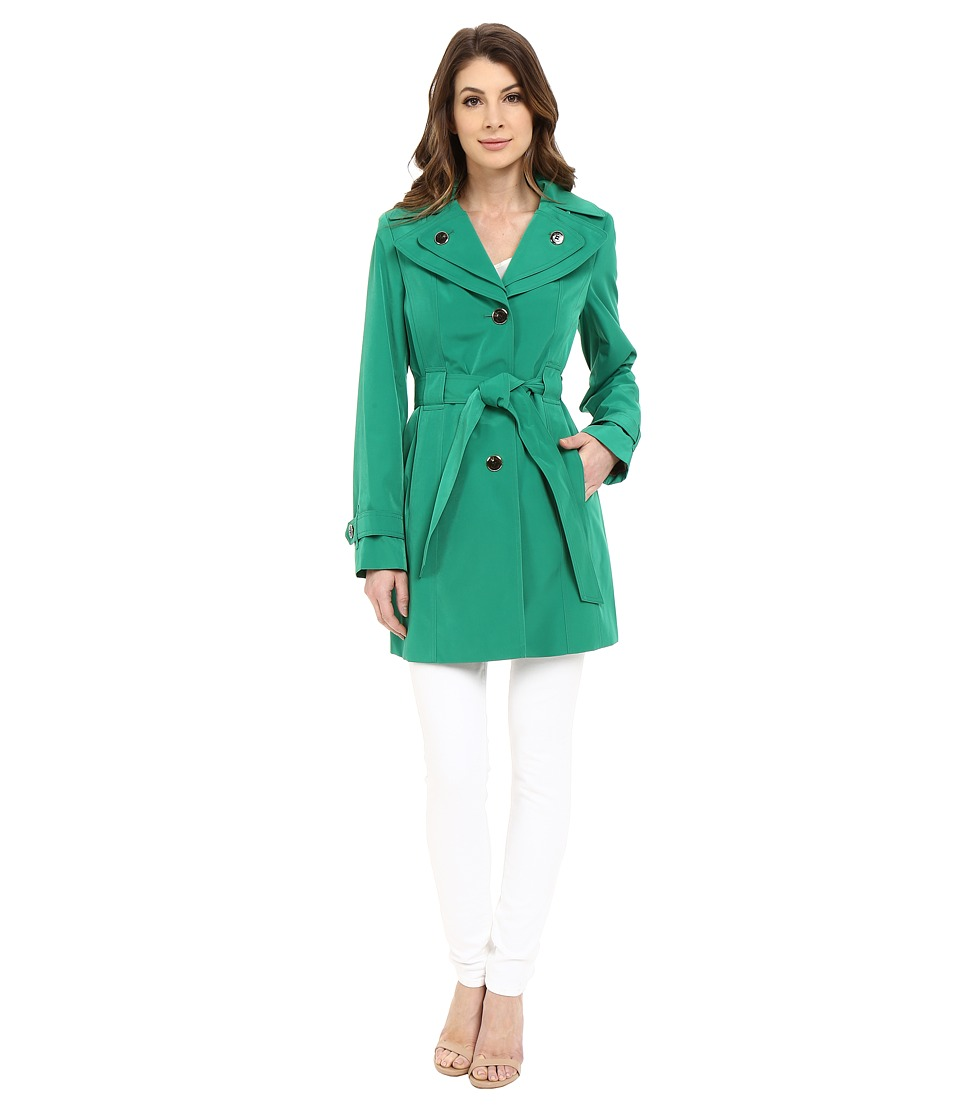 Calvin Klein - Double Collar Single Breasted Belted Trench (Kelly Green) Women's Coat