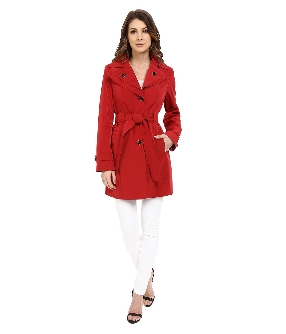 Calvin Klein - Double Collar Single Breasted Belted Trench (Crimson) Women's Coat