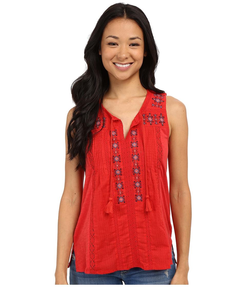 Lucky Brand - Tank Top w/ Tassels (Crimson Red) Women's Sleeveless