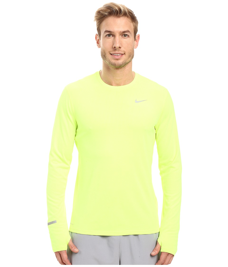 Nike - Dri-FIT Contour L/S Running Shirt (Volt/Reflective Silver) Men's T Shirt