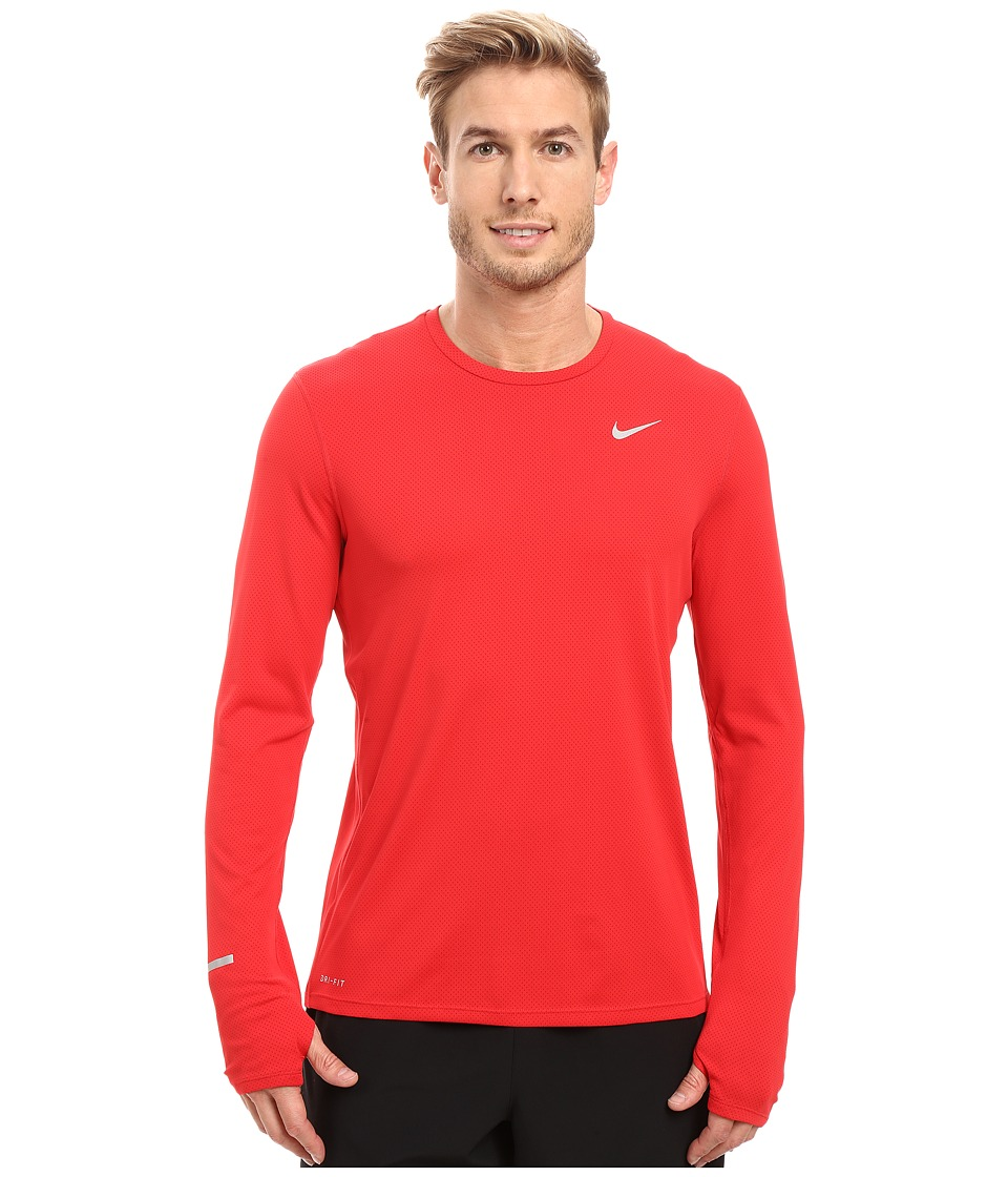 Nike Dri-FITtm Contour L/S Running Shirt (University Red/Gym Red/Reflective Silver) Men