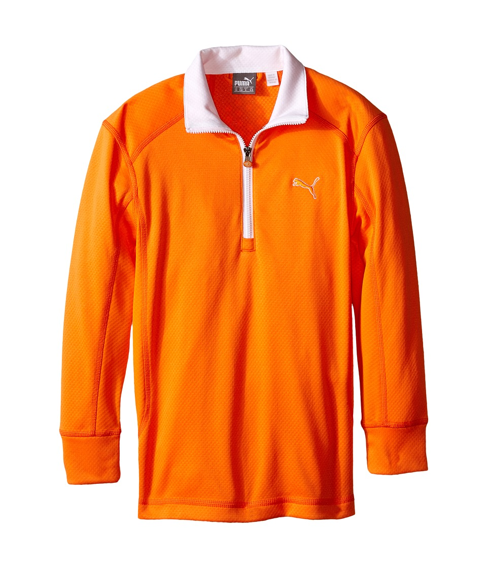 PUMA Golf Kids - Golf L/S 1/4 Zip Top (Big Kids) (Vibrant Orange) Boy's Long Sleeve Pullover